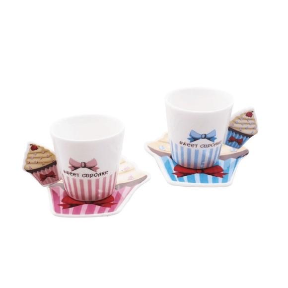 Jogo Com 2 Xícaras e 2 Pires em Porcelana Cupcake