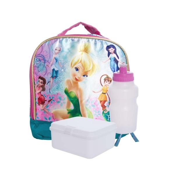 Lancheira Com Garrafa e Porta Lanche Soft Fadas Tinker Bell Disney - Dermiwil