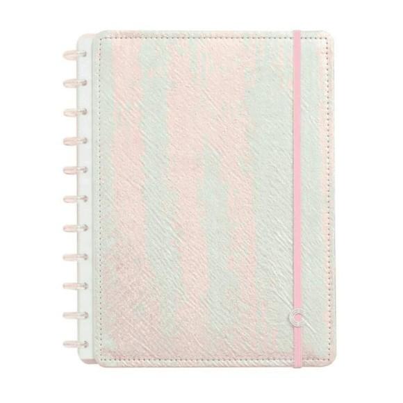 Caderno Rosa Holográfico Grande - Caderno Inteligente