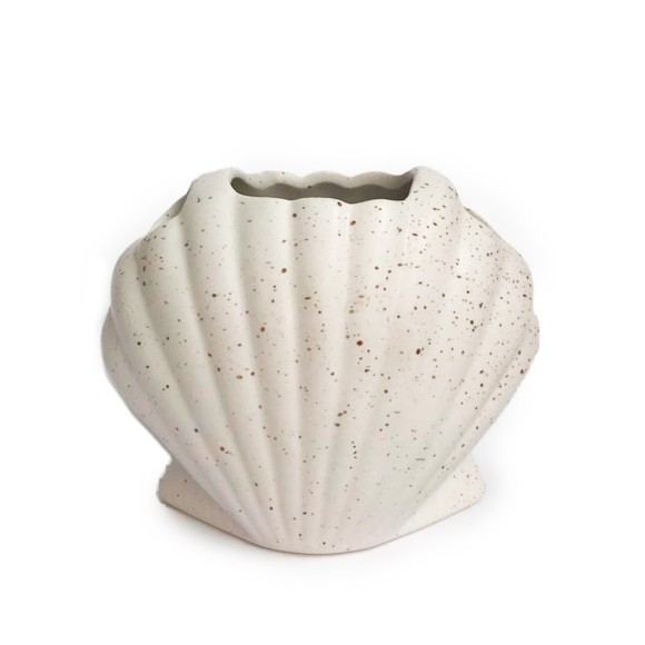 Porta Treco Decorativo Cerâmica Concha Branco - Zimex