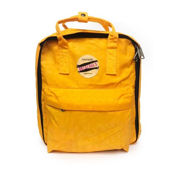 Mini Mochila Vintage Retrô Fun Pack Amarelo Mostarda - Seanite