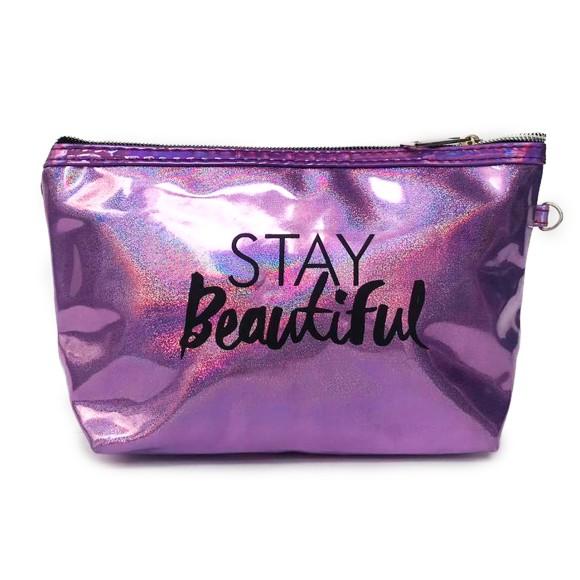 Necessaire Stay Beautiful Com Brilho Holográfico Roxo Galáxia - Zimex