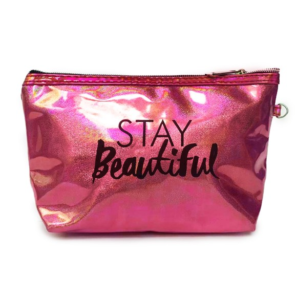 Necessaire Stay Beautiful Com Briilho Holográfico Rosa - Zimex