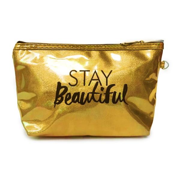 Necessaire Stay Beautiful Com Brilho Holográfico Dourado Gold - Zimex