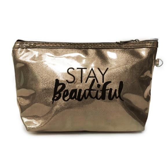 Necessaire Stay Beautiful Com Brilho Holográfico Cinza Galático - Zimex