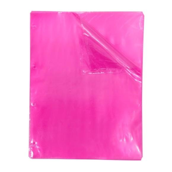 Blister Com 50 Envelopes Plásticos 4 Furos Rosa Neon Color Bubble - Dac
