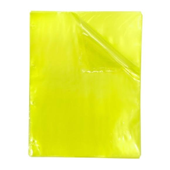 Blister Com 50 Envelopes Plásticos 4 Furos Amarelo Neon Color Bubble - Dac