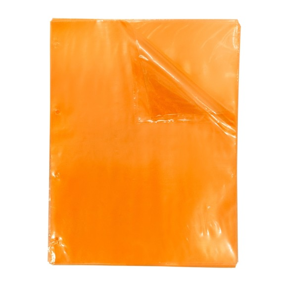 Blister Com 50 Envelopes Plásticos 4 Furos Laranja Neon Color Bubble - Dac