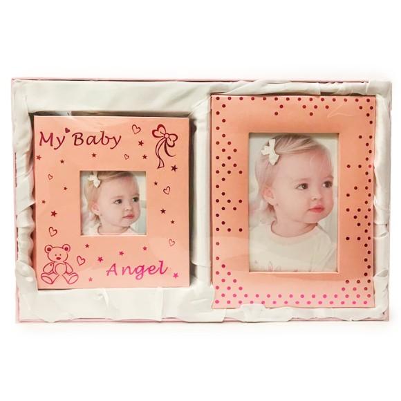 Conjunto Com 1 Álbum de Fotos 80 Fotos e 1 Porta Retrato My Baby Rosa Bebê