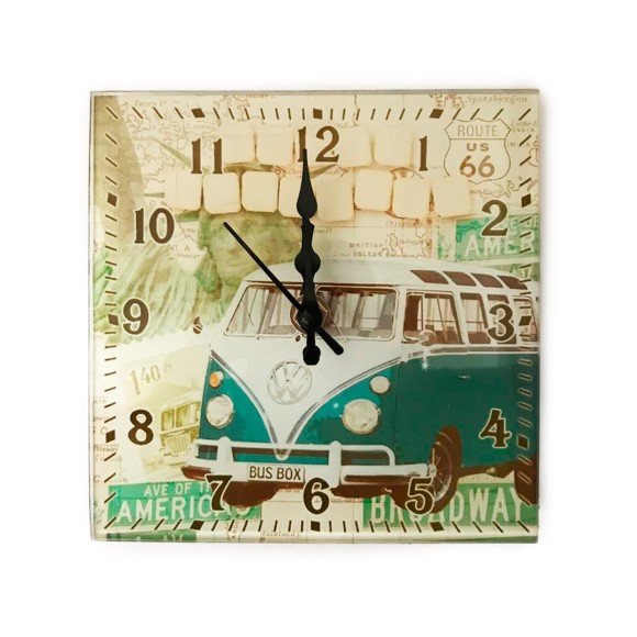 Relógio de Parede Vidro Retrô Combi - Bom Years