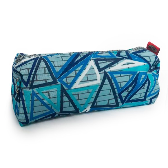 Estojo Nylon Impresso Geométrico Azul Celeste - Daterra
