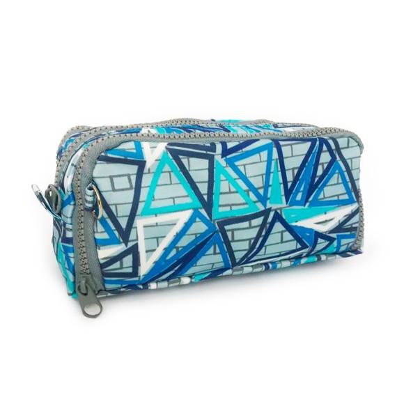 Estojo Triplo Porta Canetas Geométrico Azul Celeste - Daterra