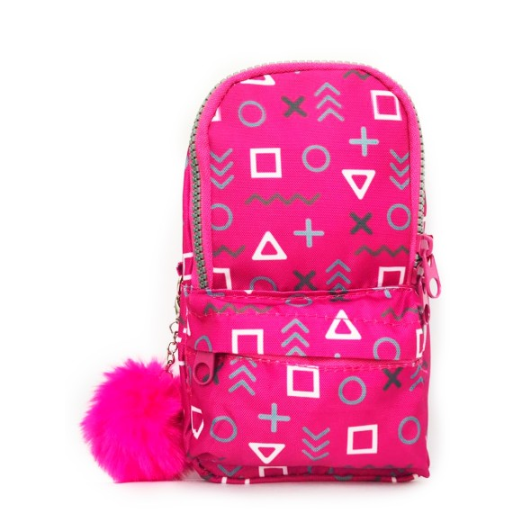 Estojo Mini Mochila Com Alça Decorado Pink - Daterra