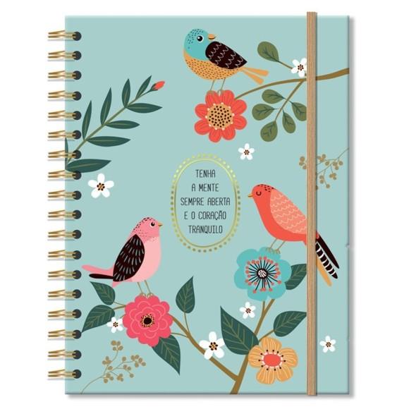 Caderno Colegial 10 Matérias 200 Folhas Pássaros - Fina Ideia