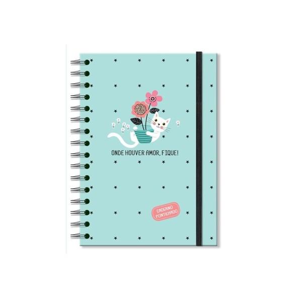 Caderno Pontilhado 96 Folhas Gatos - Fina Ideia
