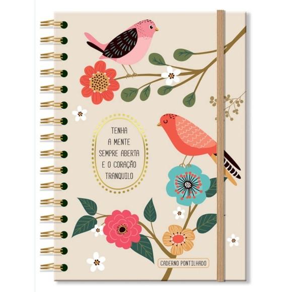 Caderno Pontilhado 96 Folhas Pássaros - Fina Ideia
