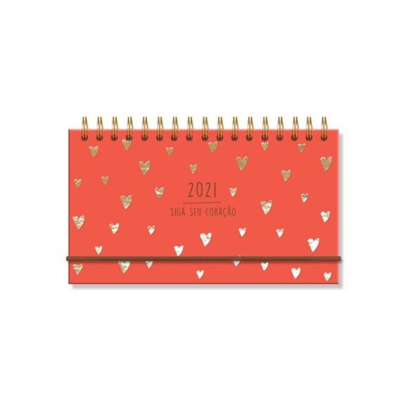 Agenda Mini Semanal 2021 Corações Dourados - Fina Ideia