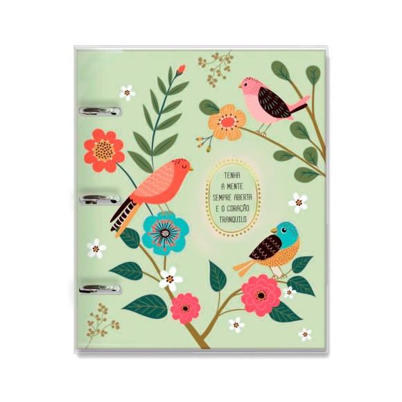 Caderno Argolado Fichário 120 Folhas Pássaros - Fina Ideia