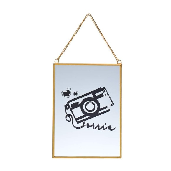 Quadro Espelhado Dourado Câmera - Brás Continental