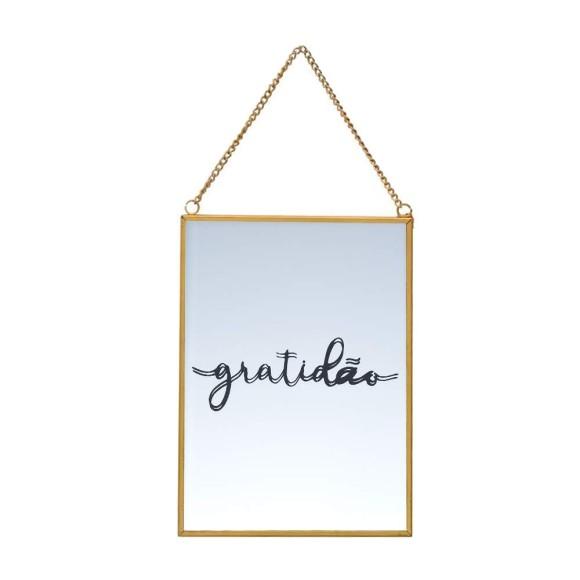 Quadro Espelhado Dourado Gratidão - Brás Continental