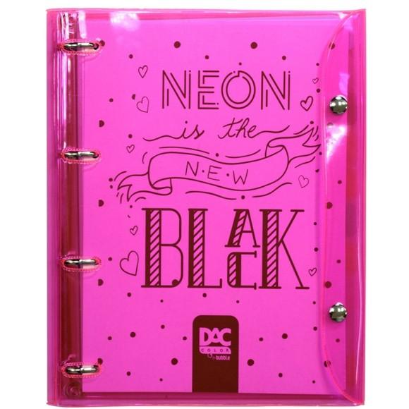 Fichário Universitário Color Bubble 192 Folhas Rosa Neon - Dac