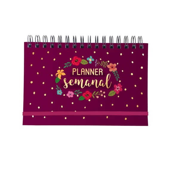 Planner Semanal Floral Rosa Escuro - Cartões Gigantes