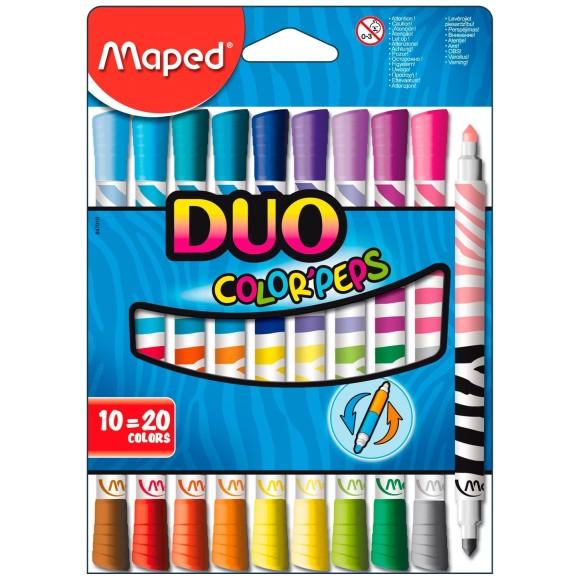 Caneta Hidrocor ColorPesps Duo 10=20 Cores - Maped