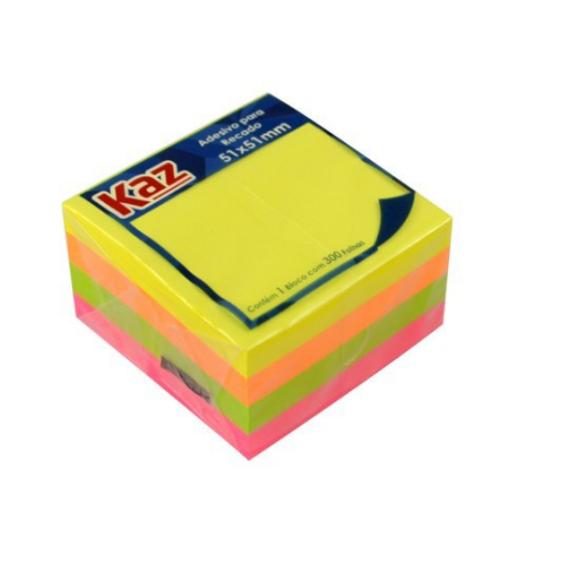 Bloco Adesivo Neon 4 Cores - Kaz