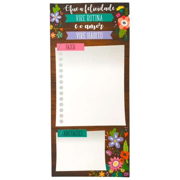 Bloco Notepad Magnético Flores Madeira - Cartões Gigantes