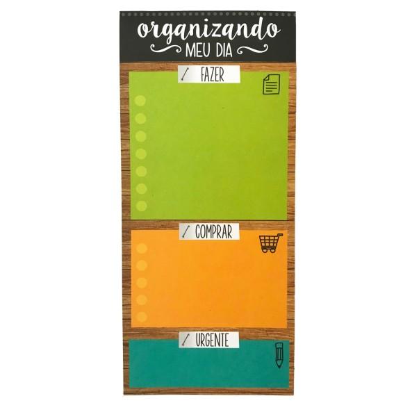 Bloco Notepad Magnético Organizando Meu Dia Madeira - Cartões Gigantes