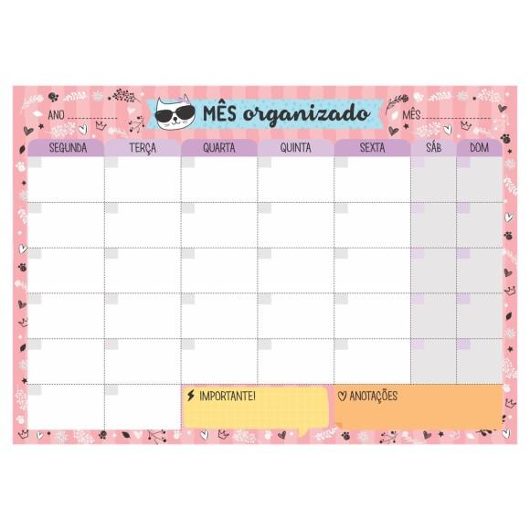 Bloco Planner de Mesa Mensal Gatinhos Rosa - Cartões Gigantes