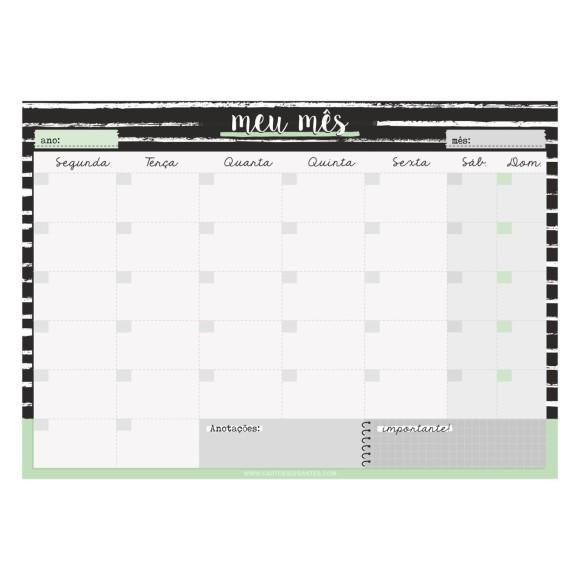 Bloco Planner de Mesa Mensal Preto e Branco - Cartões Gigantes