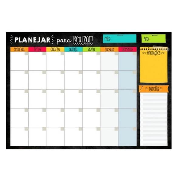 Bloco Planner de Mesa Mensal Colorido  - Cartões Gigantes
