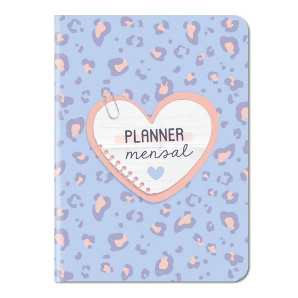 Planner Mensal Animal Print Rosa e Azul - Cartões Gigantes