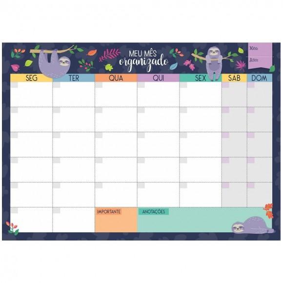 Bloco Planner de Mesa Mensal Preguiça Azul Marinho - Cartões Gigantes