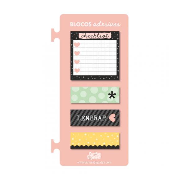 Cartela de Blocos Adesivos Rosa - Cartões Gigantes