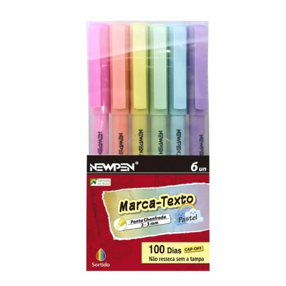 Marca Texto Pastel 6 Cores - NewPen