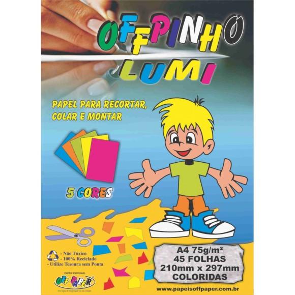 Kit Papel Lumi A4 75g 45 Folhas 5 Cores - OffPinho
