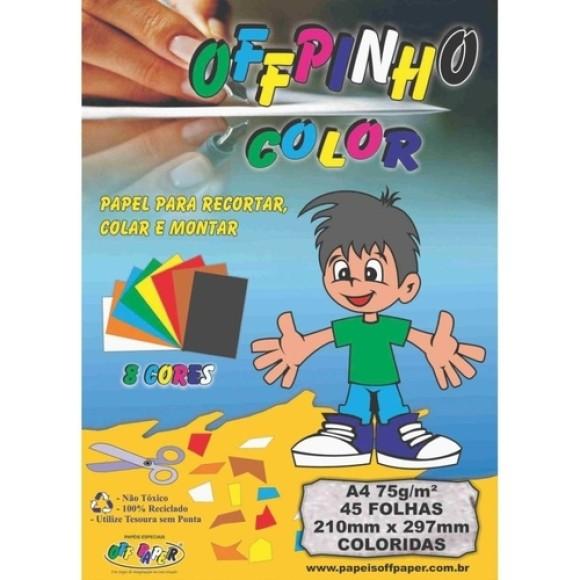 Papel Color A4 75g 45 Folhas 8 Cores - OffPinho