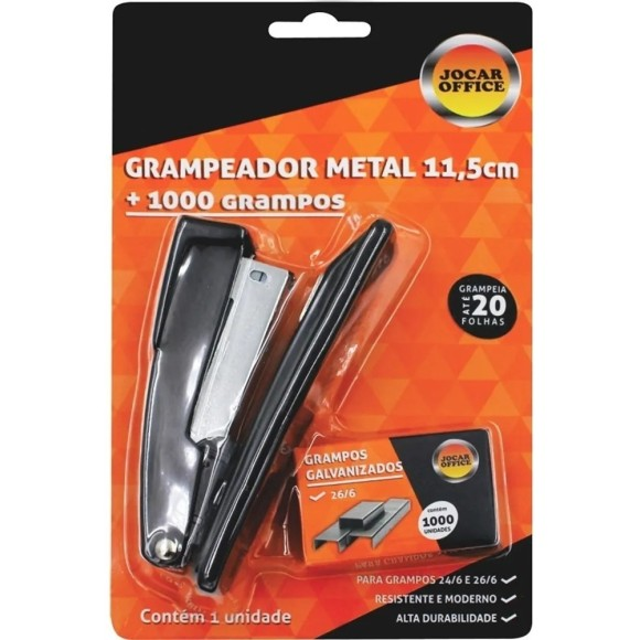 Kit Grampeador Metal 11,5cm Com 1000 Grampos Preto - JocarOffice