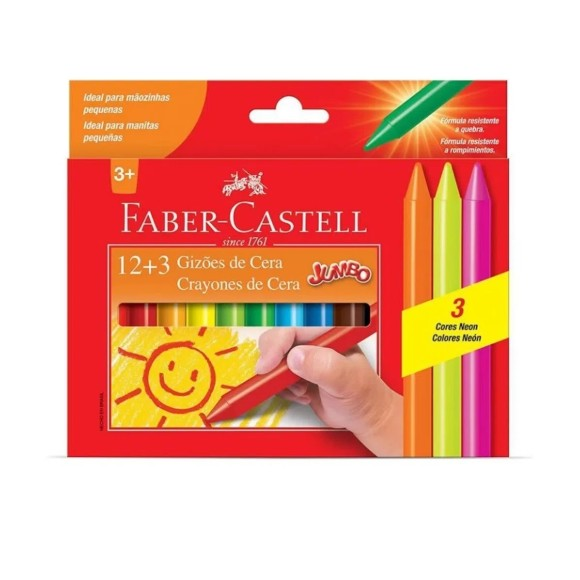 Gizões de Cera Jumbo 15 cores (12+3) - Faber Castell