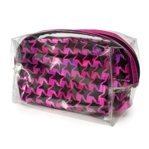 Conjunto Necessaire Plástica 2 Peças Holográfica Rosa - Zimex