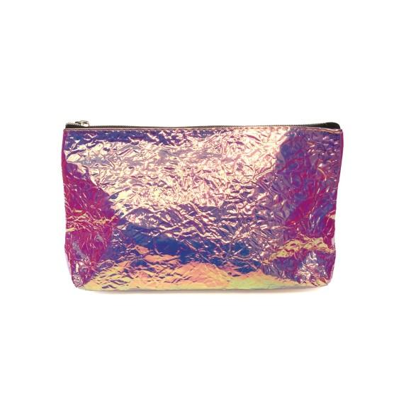 Necessáire Plástica Holográfica Amassadinha Rosa - Zimex