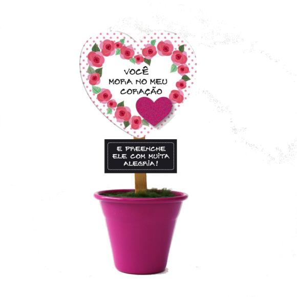 Mini Vaso Você Mora No Meu Coração Rosa - Fina Ideia