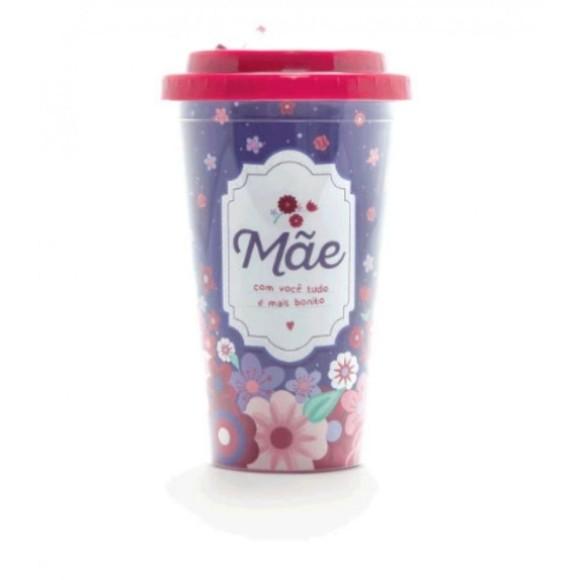 Copo Plástico Com Canudo Retrátil Mãe Flores - Ludi