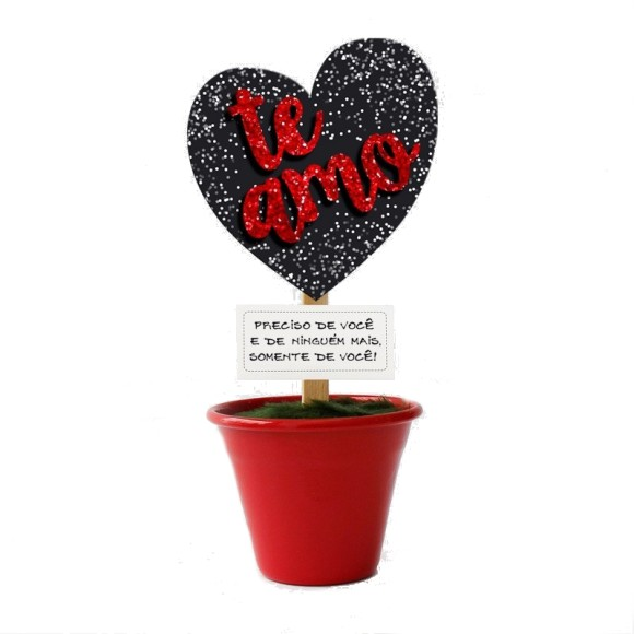 Mini Vaso Coração Te Amo Gliter Vermelho - Fina Ideia