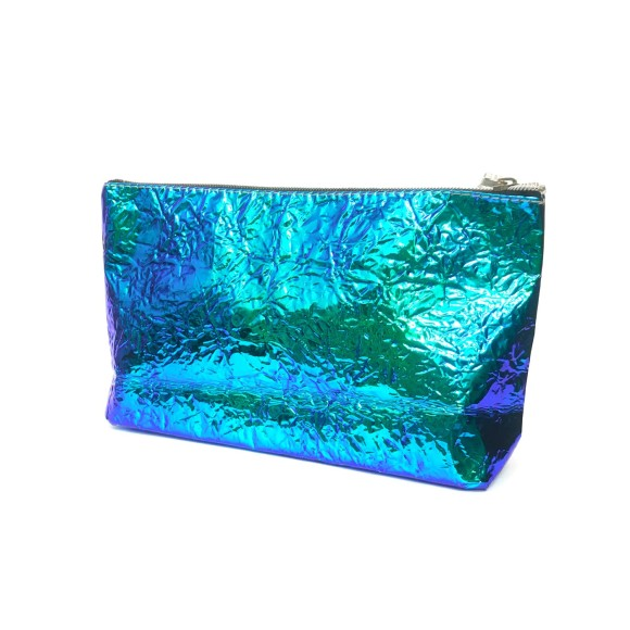 Necessáire Plástica Holográfica Amassadinha Azul - Zimex
