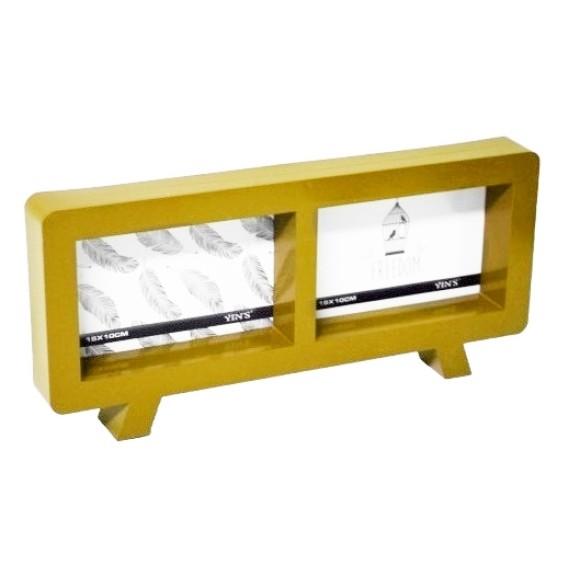 Porta Retrato Duplo Com Brilho Dourado - Yin's