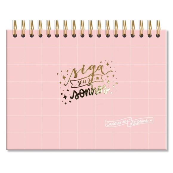 Caderno de Lettering Rosa Quadriculado - Fina Ideia